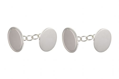 Sterling Silver Plain Edged Oval Chained Cufflinks